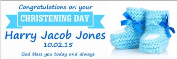 Blue booties boy's Christening banner